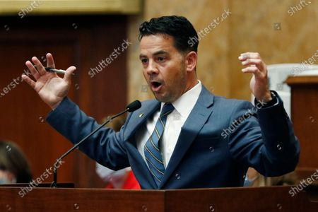 Rep. Chris Brown, R-Nettleton calls upon colleagues to vote against the suspension of the the rules and introduce a bill to take down the state flag, at the Capitol in Jackson, Miss. However, the body voted 85-34 for the resolution that now heads to the Senate, where it will also take a two-thirds vote to pass. The current flag has in the canton portion of the banner the design of the Civil War-era Confederate battle flag, that has been the center of a long-simmering debate about its removal or replacement