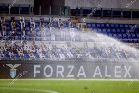 Editorial image of Well-wishes for seriously injured racing driver Alex Zanardi displayed during Lazio-Fiorentina Serie A match, Roma, Italy - 27 Jun 2020