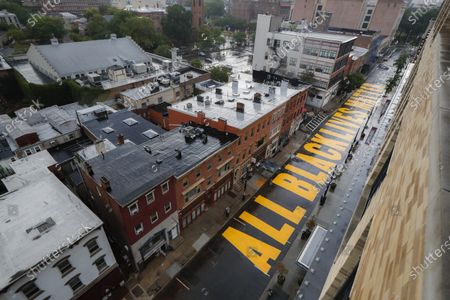 """Mural that reads """"ALL BLACK LIVES MATTER"""" is painted on Halsey Street, in Newark, N.J"""