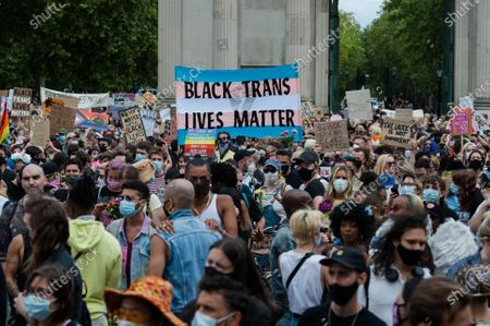 Thousands of transgender people and their supporters gather at Wellington Arch before marching through central London to Parliament Square to celebrate the Black trans community, commemorate the Black trans lives lost and protest against potential changes to the Gender Recognition Act.