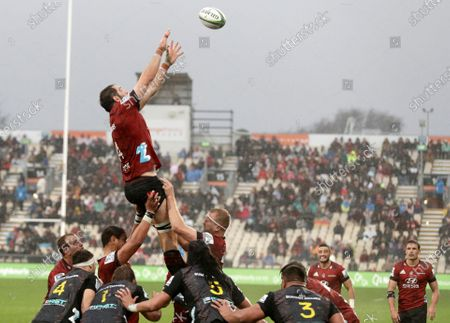 Crusaders Samuel Whitelock reaches for the ball to win a line out during the Super Rugby Aotearoa rugby game between the Crusaders and Chiefs in Christchurch, New Zealand