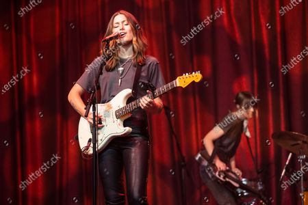 Stock Photo of Rebecca Lovell of Larkin Poe performs at Brooklyn Bowl Nashville.