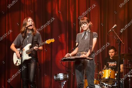 Stock Picture of Rebecca Lovell and Megan Lovell of Larkin Poe perform at Brooklyn Bowl Nashville.