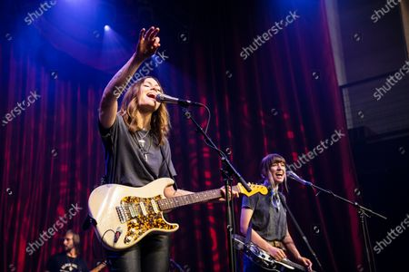 Stock Image of Rebecca Lovell and Megan Lovell of Larkin Poe perform at Brooklyn Bowl Nashville.