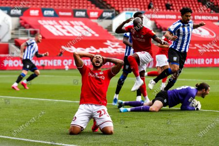 Nahki Wells of Bristol City looks dejected after he heads into the hands of Joe Wildsmith of Sheffield Wednesday