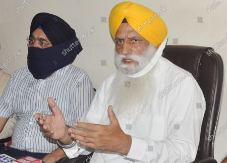 Stock Picture of Shiromani Gurdwara Parbandhak Committee (SGPC) senior vice-president Rajinder Singh Mehta (R) along with other SGPC officials addresses a press conference  on missing 'saroops' at SGPC office, in Teja Singh Samundri Hall, Golden Temple complex, on June 27, 2020 in in Amritsar, India.