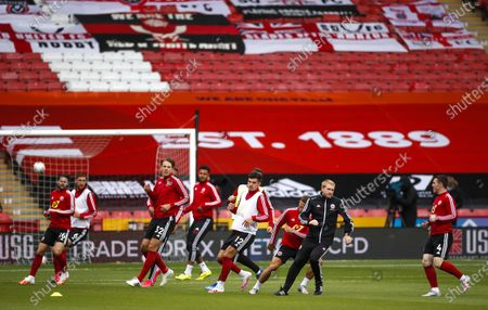 Sheffield players warm up prior the English FA Cup quarter final match between Sheffield United and Arsenal London in Sheffield, Britain, 28 June 2020.