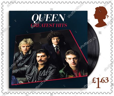 Stock Image of A set of 13 stamps are being issued as a tribute to the musical contribution of rock band Queen.The UK's Royal Mail hailed the quartet as one of the most popular and enduring groups of all time.Eight stamps will feature images of some of their most popular and iconic album covers: Queen II, 1974; Sheer Heart Attack, 1974; A Night at the Opera, 1975; News of the World, 1977; The Game, 1980; Greatest Hits, 1981; The Works, 1984; and Innuendo, 1991Drummer Roger Taylor said: What an honour. We must be really part of the furniture now! And guitarist Brian May said: It's hard to put into words what I feel when looking at these beautiful stampsRenowned for the extravagance of their stage shows, Queen's live performances are celebrated in a miniature sheet of additional stamps.These show images fro gigs at three London venues --Wembley Stadium, 1986; Hyde Park, 1976 and Hammersmith Odeon, 1975.The fourth stamp is a performance in Budapest, Hungary, 1986.Each shows off a member of the band -- late singer Freddie Mercury at Wembley Stadium,; Roger Taylor at Hyde Park,; now retired bass player John Deacon at Hammersmith Odeon and Brian May in Budapest.Also included in the miniature-sheet is the iconic shot taken at the group's first ever studio photo shoot in a Primrose Hill studio in 1974The stamps will go on general sale from 9 July 2020