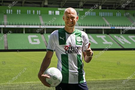 Dutch soccer player Arjen Robben during his presentation to the press on the field of the Hitachi Capital Mobility Stadium at FC Groningen in Groningen, The Netherlands, 28 June 2020. Robben announced that he would continue his career as a professional footballer with childhood love FC Groningen.