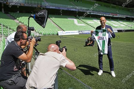 Dutch soccer player Arjen Robben poses for photographers during his presentation to the press on the field of the Hitachi Capital Mobility Stadium at FC Groningen in Groningen, The Netherlands, 28 June 2020. Robben announced that he would continue his career as a professional footballer with childhood love FC Groningen.