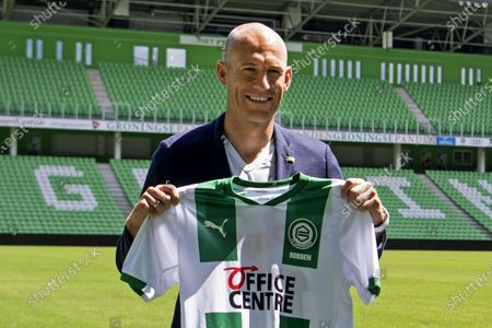 Dutch soccer player Arjen Robben during his presentation to the press at the Hitachi Capital Mobility Stadium of FC Groningen in Groningen, The Netherlands, 28 June 2020. Robben announced that he would continue his career as a professional player with childhood love FC Groningen.