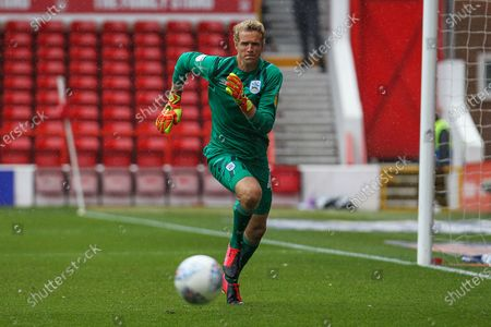 Jonas Lossl of Huddersfield Town during the EFL Sky Bet Championship match between Nottingham Forest and Huddersfield Town at the City Ground, Nottingham