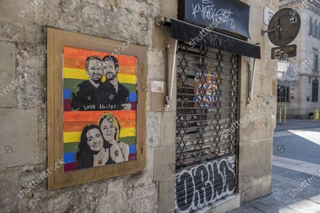 Urban graffiti artist TVBoy's latest work showing Santiago Abascal with Pablo Casado and Ines Arrimadas with Cayetana Álvarez de Todelo as a pair of lovers. In conjunction with the LGBTI Pride and Liberation Day, the urban artist TVBoy has created artwork representing an ironic version of the leaders of the Spanish center-right parties as lovers.