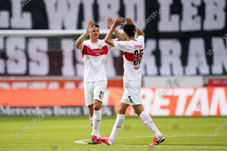 Mario Gomez (L) of Stuttgart is farewelled by teammate Marcin Kaminski (R) during the German Bundesliga Second Division soccer match between VfB Stuttgart and SV Darmstadt 98 in Stuttgart, Germany, 28 June 2020.
