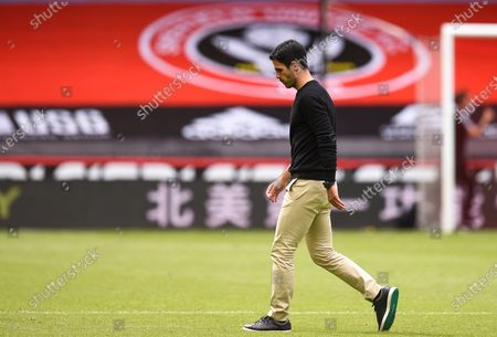 Arsenal manager Mikel Arteta reacts after the English FA Cup quarter final soccer match between Sheffield United and Arsenal FC in Sheffield, Britain, 28 June 2020.