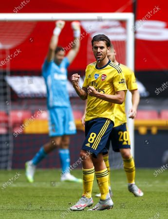 Dani Ceballos (front) of Arsenal celebrates after the English FA Cup quarter final soccer match between Sheffield United and Arsenal FC in Sheffield, Britain, 28 June 2020.