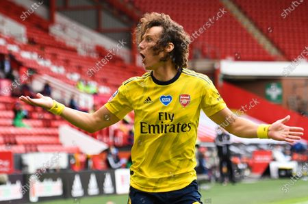 David Luiz of Arsenal reacts during the English FA Cup quarter final soccer match between Sheffield United and Arsenal FC in Sheffield, Britain, 28 June 2020.