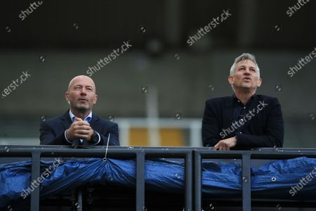Former England player Alan Shearer (L) and Former England striker and sports broadcaster Gary Lineker (R) watch the English FA Cup quarter final match between Newcastle United and Manchester City in Newcastle, Britain, 28 June 2020.