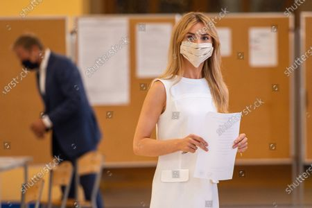 Stock Image of Katarzyna Tusk at the poll station in Sopot during presidential elections. Initially planned to take place on May 10th, but due to the coronavirus pandemic, the presidential elections in Poland were postponed.
