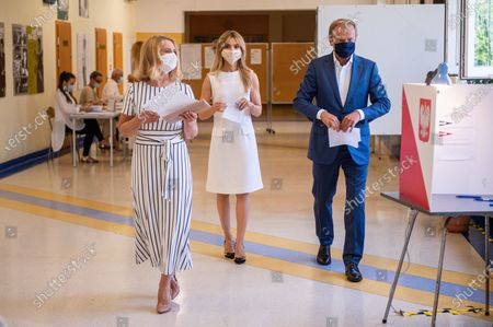 Malgorzata Tusk (L) Katarzyna Tusk (C) and Donald Tusk (R) at the poll station in Sopot during the presidential elections. Initially planned to take place on May 10th, but due to the coronavirus pandemic, the presidential elections in Poland were postponed.