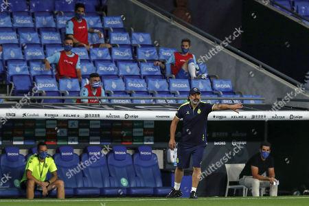 Espanyol's head coach Francisco Rufete gestures during the Spanish La Liga soccer match between RCD Espanyol and Real Madrid at the Cornella-El Prat stadium in Barcelona, Spain