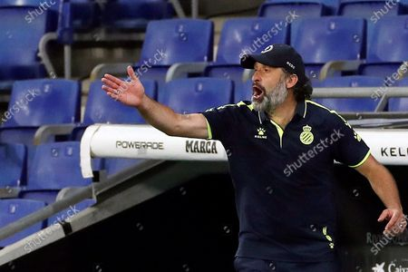 RCD Espanyol's head coach Francisco Rufete reacts during the Spanish LaLiga soccer match between RCD Espanyol and Real Madrid held at RCDE Stadium, in Barcelona, Spain, 28 June 2020.