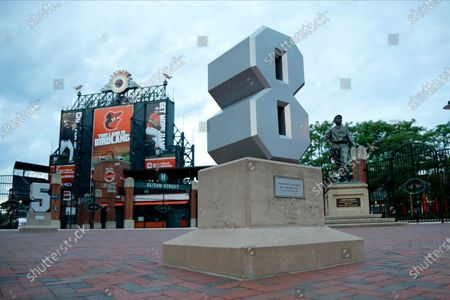 The number of Baltimore Orioles Hall of shortstop Cal Ripken Jr., is seen outside of Oriole Park at Camden Yards, in Baltimore