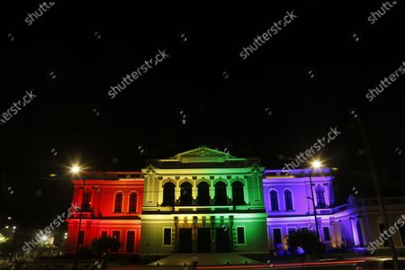 Stock Image of View of the Museum of Arts illuminated to mark the LGBT Pride Day, in Guadalajara, Jalisco state, Mexico, 28 June 2020.