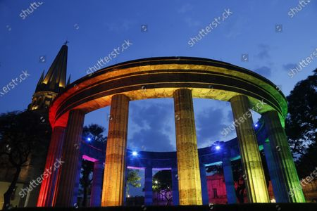 View of the roundabout of the Illustrious Jaliscienses illuminated to mark the LGBT Pride Day, in Guadalajara, Jalisco state, Mexico, 28 June 2020.