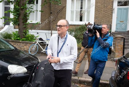 Dominic Cummings, Boris Johnson's Chief Political advisor, leaves his house to go to Downing Street.