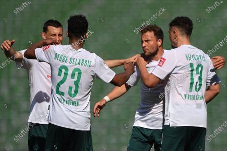 Theodor Gebre Selassie (Werder Bremen), Maximilian Eggestein (Werder Bremen), Philipp Bargfrede (Werder Bremen) and Milos Veljkovic (Werder Bremen)
