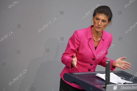 Stock Image of Member of DIE LINKE (The Left) parliamentary faction Sahra Wagenknecht during a special session of the Bundestag dealing with Corona Tax relief, in Berlin, Germany, 29 June 2020. The Second Corona Tax Assistance Act, which will be debated and voted on, consists of several tax relief measures such as, reduction of the VAT tax rate from 19 to 16 percent and reduction of 'Reduced VAT' tax rate from seven to five percent, a One-time children's subsidy bonus of 300 euros, relief for single parents, Relief assistance to the German Federal states and municipalities and more, the benefits will take place starting  01 July until 31 December, 2020. The measures are meant to deal with the economical effects caused by the spread of the coronavirus SARS-CoV-2 which causes the COVID-19 disease.
