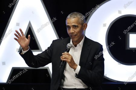 Stock Image of Former President Barack Obama talks during a panel with NBA players Chris Paul, Kevin Love and Giannis Antetokounmpo and sports analyst Michael Wilbon in Chicago. Obama tipped his cap. So did three other former presidents and a host of prominent civil rights leaders, entertainers and sports legends in a virtual salute to the 100-year anniversary of the founding of baseball's Negro Leagues. The campaign launched, with photos and videos from, among others, Hank Aaron, Rachel Robinson Derek Jeter, Colin Powell, Michael Jordan, Obama and presidents George W. Bush, Bill Clinton and Jimmy Carter at tippingyourcap.com