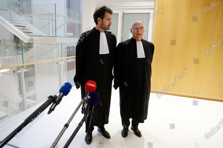 Former French Prime Minister Francois Fillon lawyer Pierre Cornut-Gentille (R) and Antonin Levy (L) speak to the press after the announcement of the verdict at the courthouse in Paris, France, 29 June 2020. Francois Fillon was sentenced to 5 years in prison, with two of them effectives during his trial, accused of employing his wife Penelope as a highly-paid aide for years despite the lack of evidence that she performed any legitimate work.