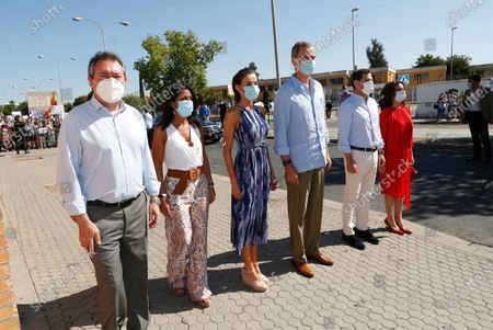 """Queen Letizia and King Felipe VI of Spain tour the """"Tres Mil Viviendas"""" neighborhood on June 29, 2020 in Sevillla, Spain. The kings make a tour of various autonomous communities supporting economic, social and cultural activity after the coronavirus outbreak."""