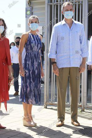 King Felipe VI, Queen Letizia visit Poligono Sur and the 'El Esqueleto' Civic Center and the Social Center of the 'Don Bosco Foundation' in Seville, Spain