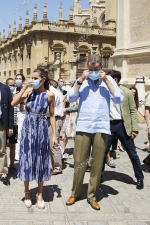 King Felipe VI, Queen Letizia visit the Cathedral of Seville and the Real Alcazar in Seville, Spain
