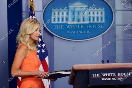 Stock Picture of White House press secretary Kayleigh McEnany arrives to speak during a press briefing at the White House, in Washington