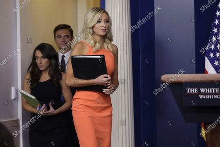White House Press Secretary Kayleigh McEnany arrives at a press briefing at the White House in Washington.