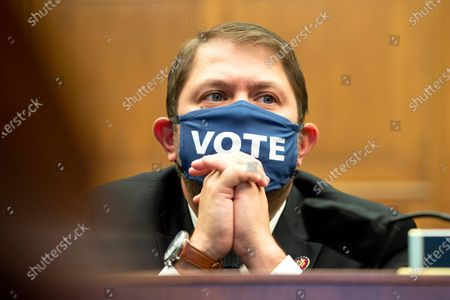 United States Representative Ruben Gallego (Democrat of Arizona) is seen during a House Natural Resources Committee hearing to discuss the recent incident with U.S. Park Police removing protesters and journalists on June 1st at St. John's Episcopal Church near the White House for President Trump to conduct a photo op.