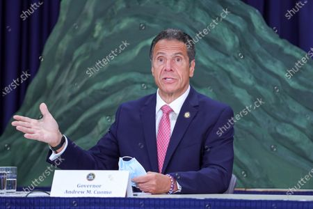 New York Governor Andrew Cuomo attends journalists during a news conference on the new coronavirus (COVID-19)on Manhattan Island in New York City