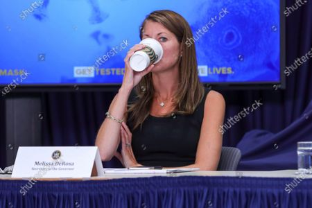 Melissa DeRosa New York government secretary attends journalists during a press conference on the new coronavirus (COVID-19)on Manhattan Island in New York Cityon Manhattan Island in New York City