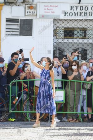 Queen Letizia visit to the courtyards in the old town