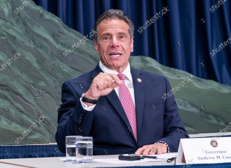 NYS Governor Andrew Cuomo makes an announcement and holds media briefing at 3rd Avenue office.