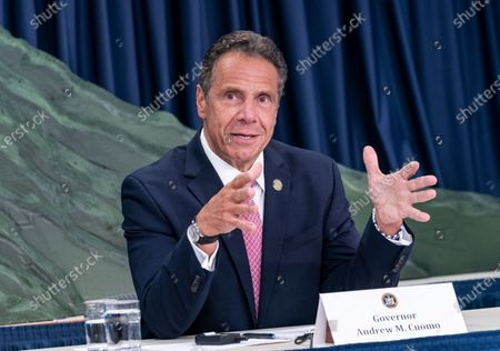 Stock Image of NYS Governor Andrew Cuomo makes an announcement and holds media briefing at 3rd Avenue office.