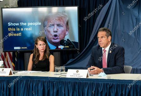 NYS Governor Andrew Cuomo makes an announcement and holds media briefing at 3rd Avenue office. Cuomo demanded that President Trump mandate wearing facial masks to mitigate COVID-19 pandemic. Cuomo said that President should lead by example and cover his face and showed on screen Photoshop image of President Trump with facial mask.