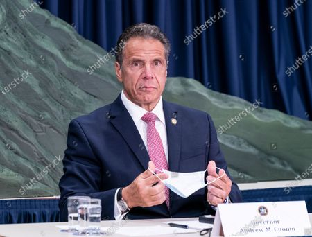 NYS Governor Andrew Cuomo makes an announcement and holds media briefing at 3rd Avenue office. Cuomo unveiled green topographic sculpture model of COVID-19 hospitalization curve from day 1 till day 111. This is the mountain that New Yorkers climbed before the hospitalization curve plateaued after 42 days he said during briefing.