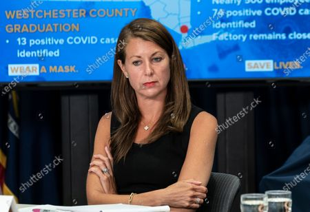 Secretary to Governor Melissa DeRosa attends NYS Governor Andrew Cuomo announcement and media briefing at 3rd Avenue office