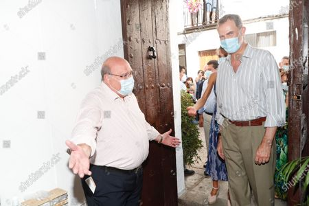 King Felipe VI visited the courtyards in the old town in Cordoba, Spain. This trip is part of a royal tour that will take the royals through all Spanish autonomous communities with the objective of supporting economic, social and cultural activity after the Coronavirus outbreak.