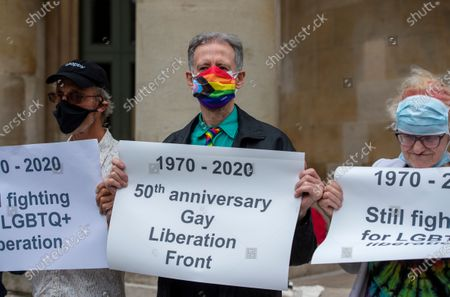 Stock Image of Veterans from the London Gay Liberation Front 1970-74 including Peter Tatchell, march from Portland Place to Parliament Square, to mark 50 years since their first meeting held at the London School of Economics.